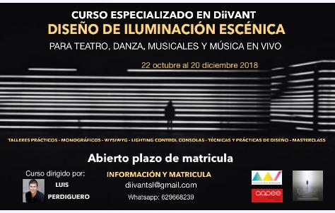 CURSO DISEÑO ILUMINACIÓN ESCÉNICA- TEATRO, DANZA, MUSICALES Y  MÚSICA EN VIVO – DiiVANT